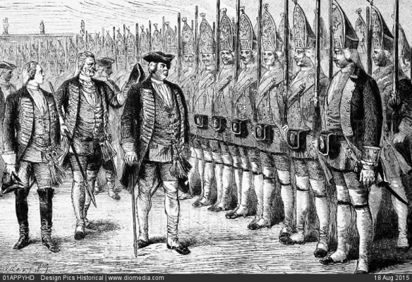 01APPYHD; King Frederick William I Of Prussia Inspecting His Giant Guards, Known As The Grand Grenadiers Of Potsdam, Although Most Called Them The Potsdam Grenadiers Or Potsdam Giants.
