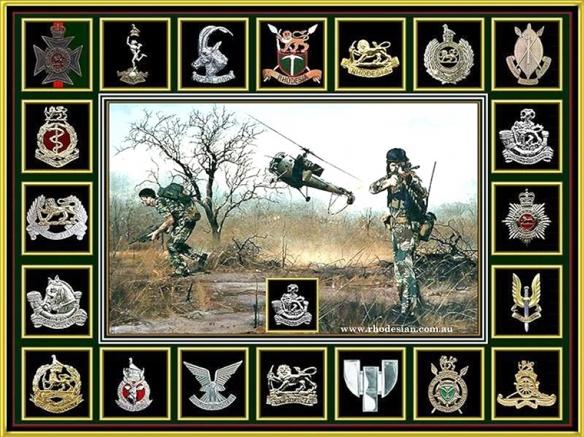 Rhodesian Army badges around chopper