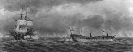 """Black and white Pierre Ozanne wash drawing image of the French vessel """"Languedoc"""" under fire from the British ship """"Renown"""" under Captain Dawson who was taking advantage of the fact that the disabled French ship had lost her mast and rudder during strong winds the previous night, August 13, 1778."""