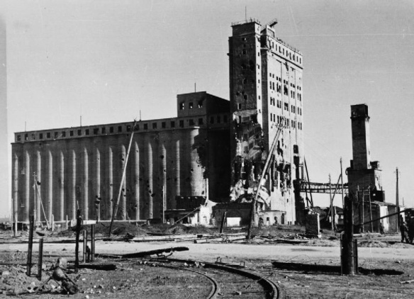 The corn silo or grain elevator in Stalingrad after the fighting