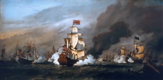 The 'Gouden Leeuw' at the Battle of the Texel, 21 August 1673 *oil on canvas *149,8 x 299,7 cm *1687