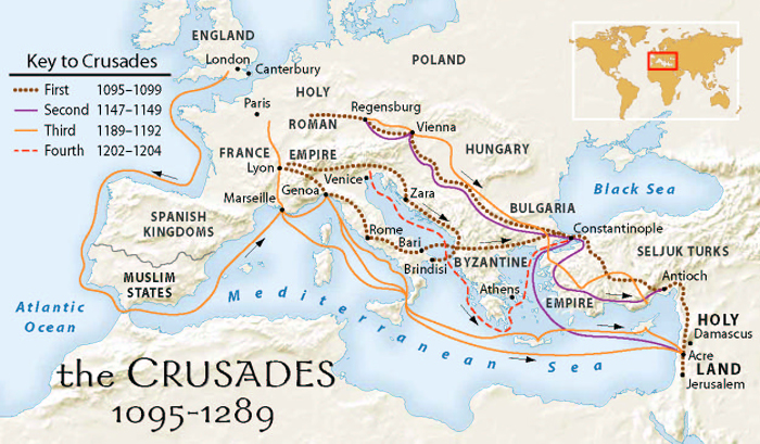 Image result for the first, second, third and fourth crusades