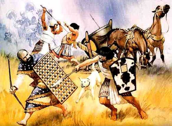 Hyksos_warriors_vs_Egyptian - Chosen People - creation of a lesser god - Foundation