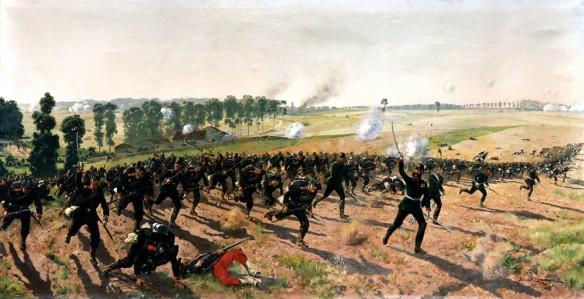 Schlacht vom 18.8.1870 unter Beteiligung des Lauenburgischen Jägerbataillon Nr.9 (Ratzeburg) mit August Gluth bei Gravelotte. Ölgemälde von Ernst Zimmer von 1910  im Kreismuseum in Ratzeburg.