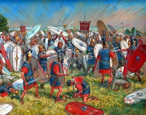 La battaglia di Vercellae. Illustrazione di I. Dzis.