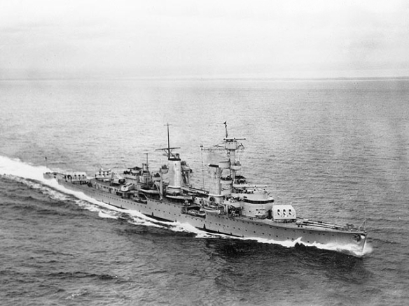 Köln (German Light Cruiser, 1930-1945)  Underway during the later 1930s. U.S. Naval Historical Center Photograph.