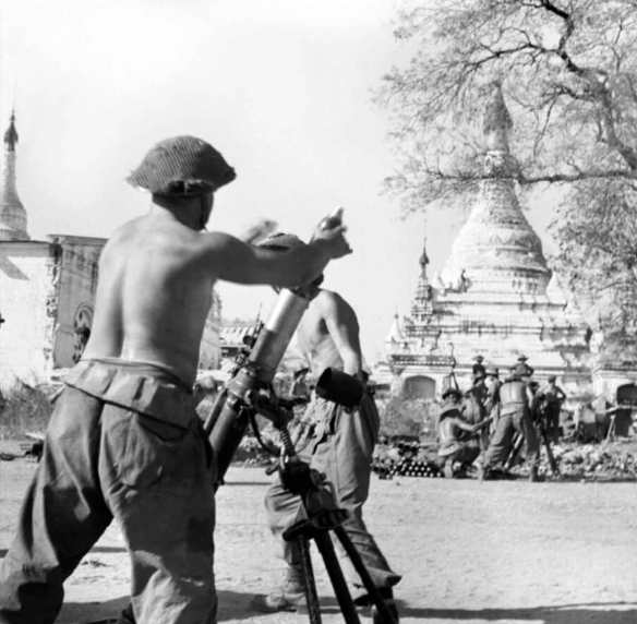 British mortars in action during the fighting for Meiktila in Burma, 28 February 1945 SE 3281 Part of WAR OFFICE, CENTRAL OFFICE OF INFORMATION AND AMERICAN SECOND WORLD WAR OFFICIAL COLLECTION No 9 Army Film & Photographic Unit Stubbs (Sgt)