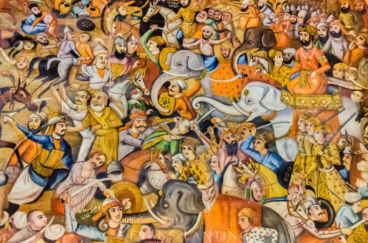 Wall painting of Taher-Abad battle scene from Safavid empire period, Chehel Sotun Palace, Esfahan, Iran
