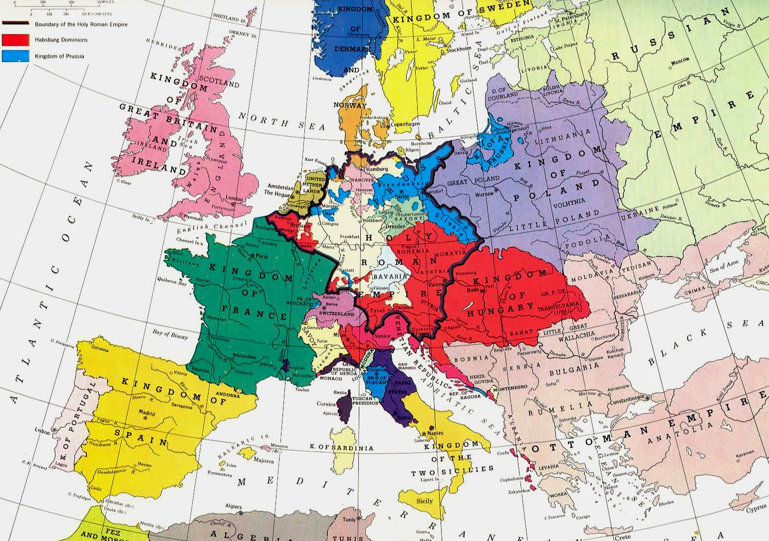 Map Of Europe 1780.European States In The Eighteenth Century Weapons And Warfare