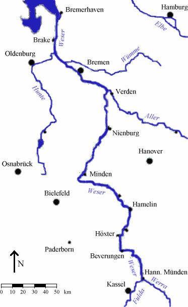 Map_river_weser_kassel_to_bremerhaven