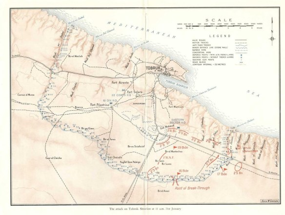 map The attack on Tobruk Situation at 11 a m 21st January