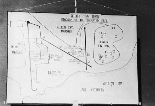 A map of Entebbe Airport on display at a press conference in Israel following Operation Entebbe in which, Israeli special forces rescued 100 hostages held, after a hijacking, at Entebbe Airport in Uganda by members of the Popular Front for the Liberation of Palestine on 3rd July 1976. The planning of the raid was aided by the fact that the airport had been built by an Israeli construction firm and blueprints were available in Israel. (Photo by Keystone/Hulton Archive/Getty Images)
