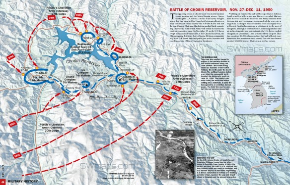 Map showing the Battle of Chosin Reservoir, November 27 to December 11, 1950, Near Hagaru-ri, North Korea