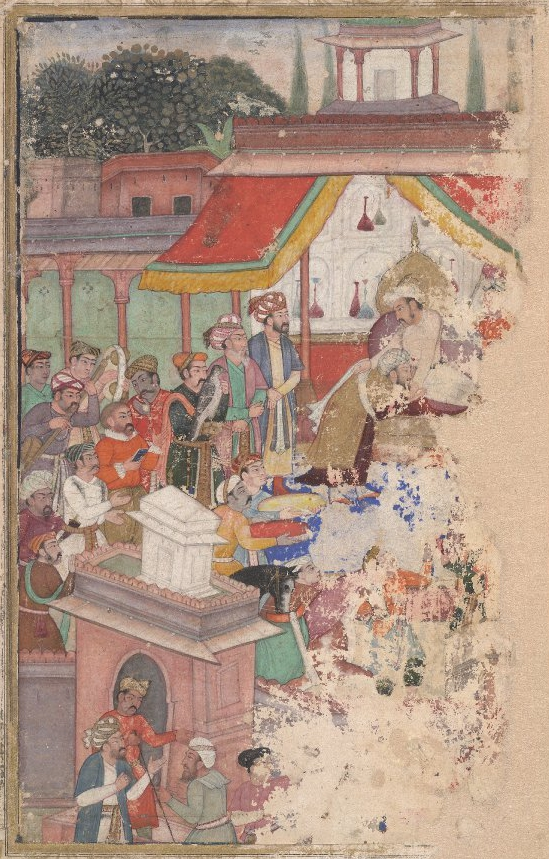 Jahangir_investing_a_courtier_with_a_robe_of_honour_watched_by_Sir_Thomas_Roe,_English_ambassador_to_the_court_of_Jahangir_at_Agra_from_1615-18,_and_others