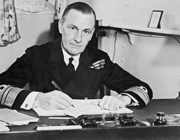 20 Apr 1944 --- Admiral Sir James Somerville, of the British Admiralty, led the attack on Japanese-held Sumatra on April 19th, when allied warships and planes pounded the Sabang and Lhonga airfields and a key harbor in Northern Sumatra.  It was announced that this attack may well be the first blow in the battle to regain Singapore and Malaya. --- Image by © Bettmann/Corbis