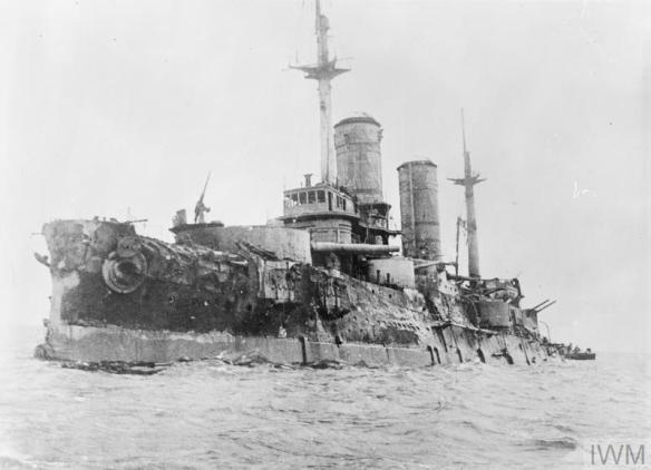THE BATTLE OF MOON SOUND, OCTOBER-NOVEMBER 1917 (Q 57942) Russian battleship SLAVA, which was badly hit in the action in the Gulf of Riga on 18 October 1917 and had to be abandoned. Copyright: © IWM. Original Source: http://www.iwm.org.uk/collections/item/object/205307253