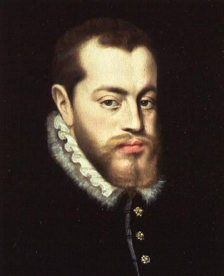MOU52694 Portrait of Philip II of Spain (1527-1598) by Moro, Antonio (c.1519-c.1576) (studio of) (attr. to) Private Collection © Philip Mould, Historical Portraits Ltd, London, UK Spanish, out of copyright