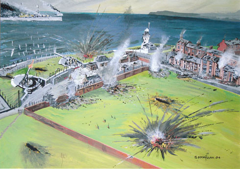 The bombardment of Hartlepool 1914 by artist Stuart McMillan
