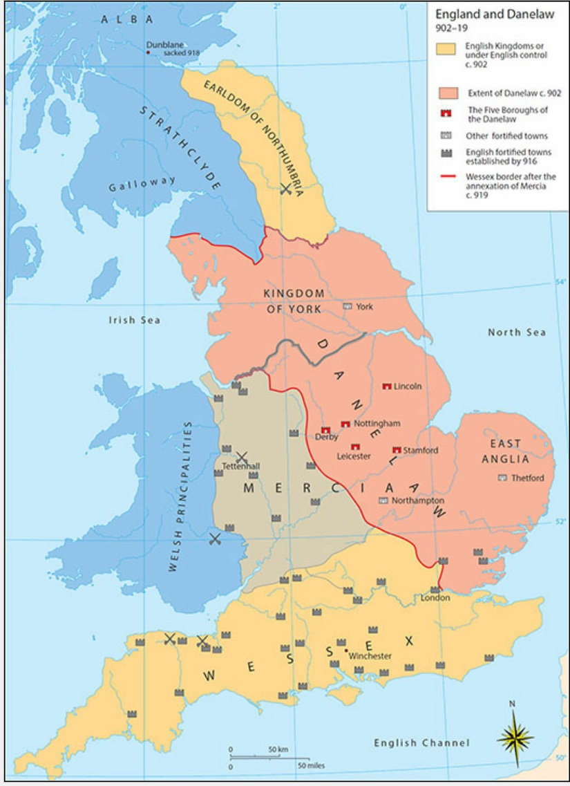 Map Of England Under Alfred The Great.Vikings In The West Weapons And Warfare