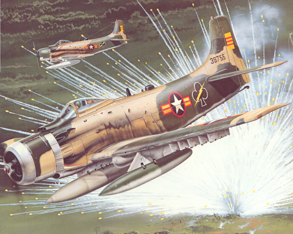Обои war, Airplane, painting, attacker, aviation, bomber, Douglas A-1 Skyraider. Авиация foto 7
